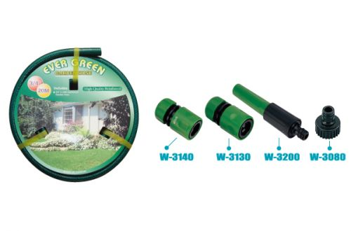 "1/2"" 15 Meters Reinforced Garden Hose with 4 Pcs Twinst Nozzle"